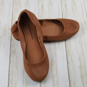 Lucky Brand Brown Leather Emmie Ballet Flats